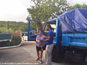 The Blue Monster truck I rode in to get to our house. Check out the door!