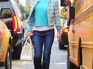 Reality star and entrepreneur Bethenny Frankel looks fab in her turquoise tweed jacket by Tory Burch in New York City yesterday. Credit: Alo Ceballos/FilmMagic. Photo courtesy of People.com.