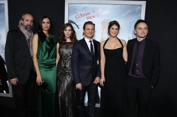 "From left, Peter Stormare, Famke Janssen, Pihla Viitala, Jeremy Renner, Gemma Arterton and Tommy Wirkola arrive at the Los Angeles premiere of ""Hansel and Gretel Witch Hunters"" held at Grauman's Chinese Theatre on Thursday, January 24, 2013 in Hollywood, Calif. (Photo by Alex J. Berliner/ABImages)"