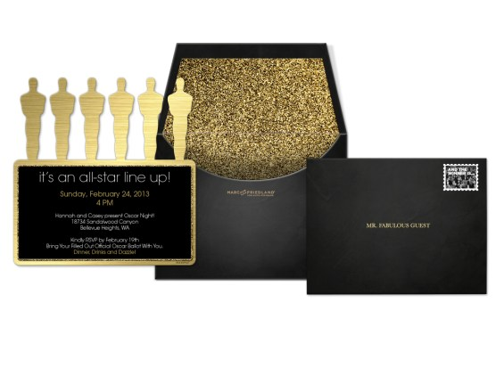 The Oscar Collection by Marc Friedland Oscar Line Up Composite Evite Postmark Invitation. Image courtesy of Marc Friedland Couture Communications.