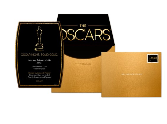 The Oscar Collection by Marc Friedland Solid Gold Composite Evite Postmark Invitation. Image courtesy of Marc Friedland Couture Communications.