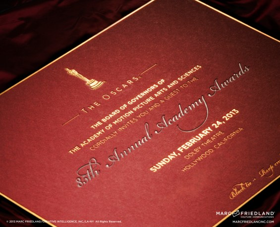 Closeup of the Oscar award show invitations that Marc Friedland created. Image courtesy of Marc Friedland Couture Communications.