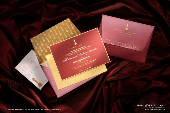 The amazingly gorgeous Oscar invitations Marc created for the 2013 Academy Awards. Image courtesy of Marc Friedland Couture Communications.