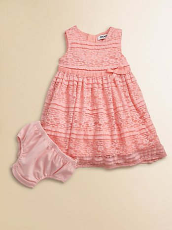 DKNY Infant's Stretch Lace Dress and Bloomer Set. Saks Fifth Avenue