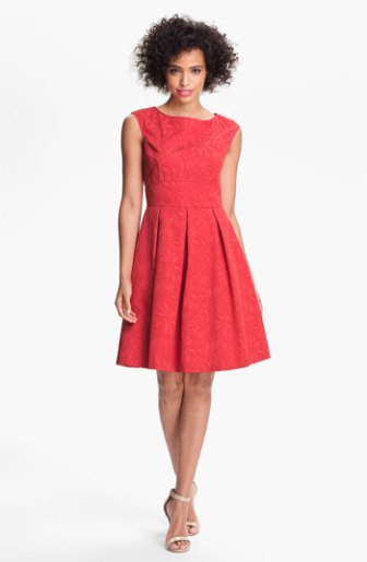 Adrianna Papell Floral Jacquard Fit & Flare Dress in Red. Nordstrom