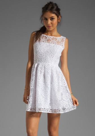 BB Dakota Huela Organza Embroidered Dress in Optic White. Revolve Clothing