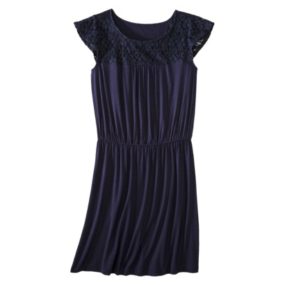 Merona Women's Lace Top Dress with Elastic Waist in Xavier Navy, Red Rave, Jacaranda, or Antique Coin. Target.com