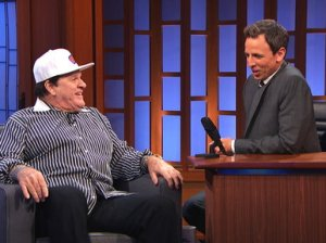 "Candace Rose Seth Meyers chats with former Major League Baseball great Pete Rose on the ""Late Show with Seth Meyers""."
