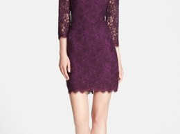 Diane von Furstenberg 'Zarita' Floral Lace Sheath Dress in Exotic Plum