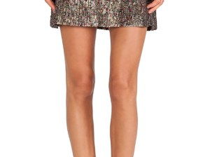 DEE SKIRT By ERIN KLEINBERG in Gold Sequin and Black Leather