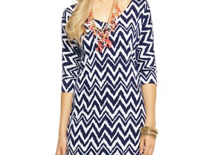 Lilly Pulitzer Eliza V-Neck T-Shirt Dress in Bright Navy Get Your Chev On in Chevron Print