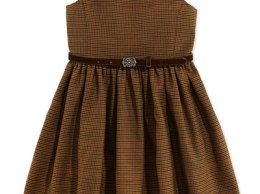 Ralph Lauren Houndstooth Tweed Jumper Dress, Brown