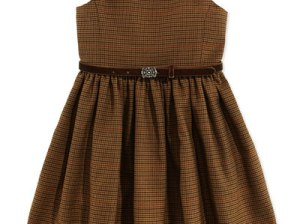 Ralph Lauren Houndstooth Tweed Jumper Dress, Brown