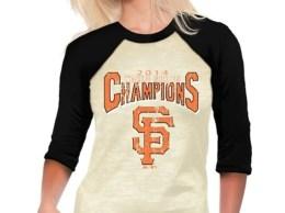 Majestic Threads San Francisco Giants Women's Cream 2014 World Series Champions Walk Off Three-Quarter Length Raglan T-Shirt