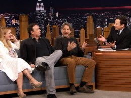 """Jimmy Fallon, Drew Barrymore and the Farelly Brothers (Peter Farrelly and Bobby Farrelly) discuss filming their hit film """"Fever Pitch"""" 10 years ago. Can you believe it's been that long?"""