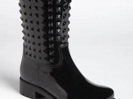 Valentino 'Rockstud' Rain Boot (Women) in Black