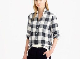 J.Crew FLANNEL SHIRT IN BUFFALO CHECK item b1089 in Hthr Carbon