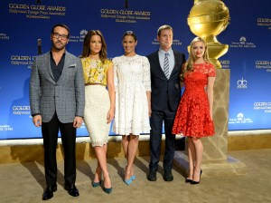 BEVERLY HILLS, CA - DECEMBER 11: Actor Jeremy Piven, Actress Kate Beckinsale, , actress Paula Patton, actor Peter Krause and Miss Golden Globe Greer Grammer attend the Moet & Chandon Toast at The 72nd Annual Golden Globe Awards Nominations at The Beverly Hilton Hotel on December 11, 2014 in Beverly Hills, California. (Photo by Michael Kovac/Getty Images for Moet & Chandon)