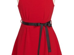 Monteau Couture Sleeveless Knit Dress (Big Girls) in Red with Faceted Crystals and Pearly Beads on the Neckline