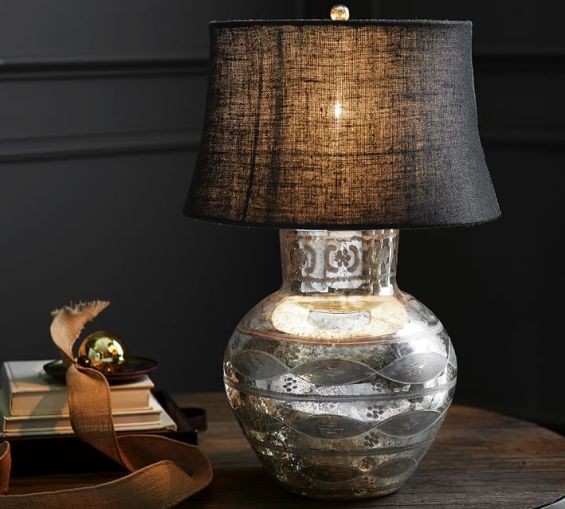 office with a glam table lamp during pottery barn s decorating sale. Black Bedroom Furniture Sets. Home Design Ideas