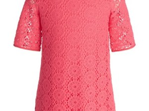 Lilly Pulitzer® 'Little Topanga' Knit Lace A-Line Dress (Big Girls) in Island Coral