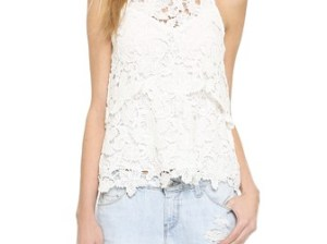 Saylor Floral Lace Violet Blouse in White