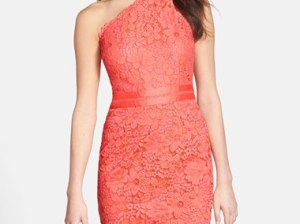 Laundry by Shelli Segal Lace One-Shoulder Sheath Dress in Vintage Coral