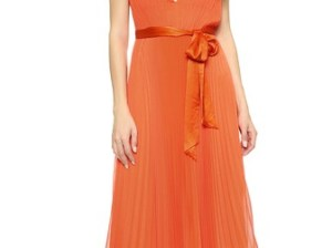 alice + olivia Kip V Neck Pleated Dress in Sunset