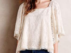 Burano Lace Peasant Top by Vanessa Virginia in Ivory