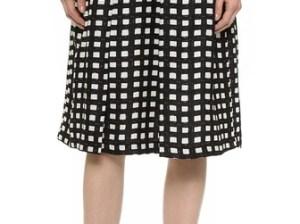 J.O.A. Checkered Midi Skirt in Black/White