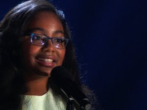 "America's Got Talent season 10 Episode 17: Live Round 2: 12 year old Golden Buzz winner and opera singer Arielle Baril sings ""Pie Jesu"" and wows judges Howard Stern, Mel B, Howie Mandel and Heidi Klum on Tuesday, August 18, 2015."