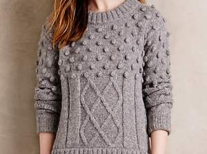 Handknit Tenby Pullover by Kathryn McCarron in Grey. Anthropologie