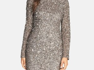 Adrianna Papell Embellished Scoop Back Cocktail Dress (Regular & Petite) in Cranberry, Lead, Black or Navy Blue holiday party dresses with long sleeves