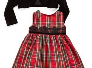 Pippa & Julie Sleeveless Tartan Dress & Velvet Crop Jacket (Baby Girls) in Black and Red