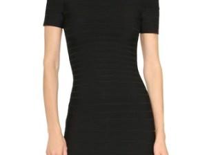 Herve Leger Carmen Off Shoulder Dress in Black. Shopbop