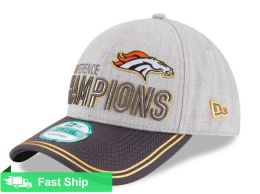 NEW ERA DENVER BRONCOS HEATHER GRAY/GRAPHITE 2015 AFC CONFERENCE CHAMPIONS TROPHY COLLECTION LOCKER ROOM 9FORTY ADJUSTABLE HAT