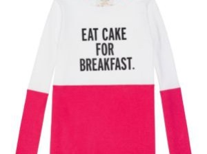 kate spade new york girls girls' eat cake for breakfast tee in pink and white