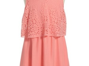 Ella Moss 'Lucia' Popover Dress (Big Girls) Peach easter dresses for tweens