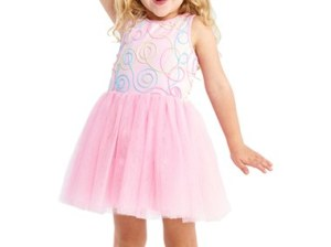 Pippa & Julie 'Swirl' Fit & Flare Dress (Toddler Girls, Little Girls & Big Girls) Cotton Candy Pink