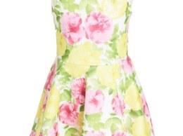 Kate Mack 'Rose' Floral Print Scuba Dress (Toddler Girls, Little Girls & Big Girls) Yellow Pink easter dresses for toddler girls