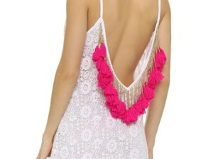 SUNDRESS Lana Crochet Short Beach Dress Tassels White Pink beach cover-ups