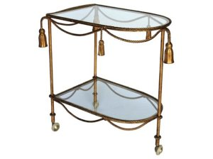 VINTAGE Italian Gilded Rope & Tassel Bar Cart Glass Shelves vintage bar carts
