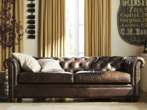 Pottery Barn CHESTERFIELD LEATHER SOFA Cocoa Leather pottery barn leather furniture sale