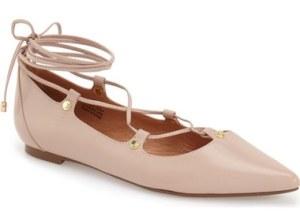 Halogen 'Owen' Pointy Toe Ghillie Flat (Women) Blush Nappa Leather Nordstrom anniversary sale women's fashion shoes under $100