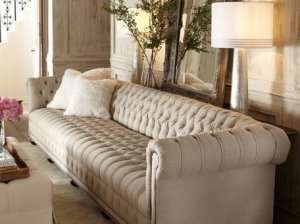"Old Hickory Tannery Hudson Tufted-Linen Sofa, 76""L Natural Horchow Flash Sale candace rose"