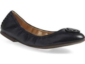 Tory Burch 'Allie' Ballet Flat (Women) (Nordstrom Exclusive) Black Leather Nordstrom anniversary sale women's shoes under $200
