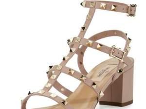 Valentino Rockstud Leather City Sandal Poudre block heel sandals summer 2016