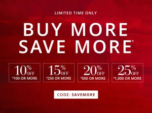 Save up to 25% off at the Pottery Barn Buy More Save More Sale happening now until Labor Day, Monday, September 5, 2016.