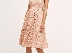 Champagne and Strawberry Lace Dress Pink Anthropologie anthro days