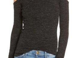 Current/Elliott 'The Mélange' Cold Shoulder Wool & Linen Sweater Black cold shoulder sweaters fall 2016